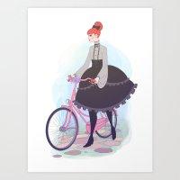 Biking Lolita Art Print
