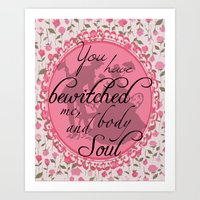 pride and prejudice Art Prints featuring Pride & Prejudice Quote by Canis Picta