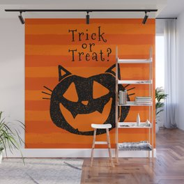 Trick or Treat? Halloween cat lady Wall Mural