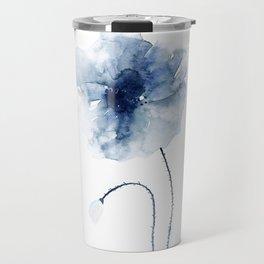 Blue Watercolor Poppies #2 Travel Mug