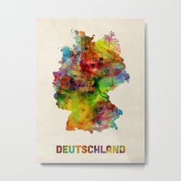 Germany Watercolor Map (Deutschland) Metal Print