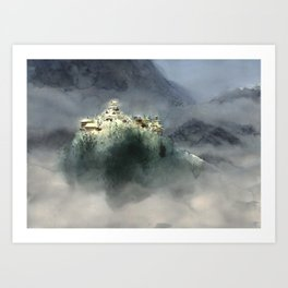 The village in the clouds Art Print