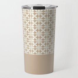Pantone Cannoli Cream Square Petal Pattern on Pantone Hazelnut Travel Mug