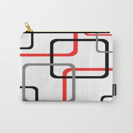 Geometric Rounded Rectangles Collage Red Carry-All Pouch
