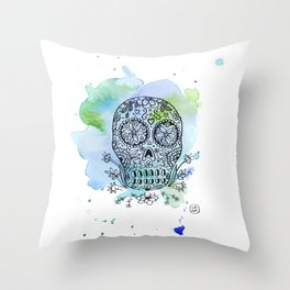 Colorful Calaverita Throw Pillow