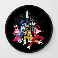 power rangers Wall Clocks featuring power glove rangers by Louis Roskosch