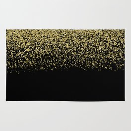 Sparkling gold glitter confetti on black background- Luxury pattern Rug
