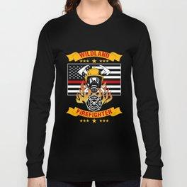 Wildland Firefighter Hero Thin Red Line Smokejumper Gift Long Sleeve T-shirt