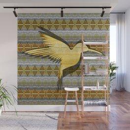 Ancestral Golden Hummingbird Neo Tribal Totem Print Wall Mural