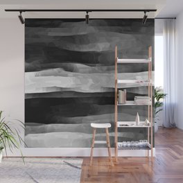 Glowing Smoky Abstract - Black and White Wall Mural