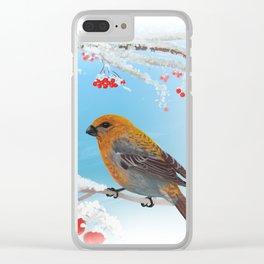 Winter tale. Pine grosbeak (Pinicola enucleator) male and female Clear iPhone Case