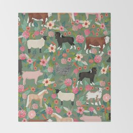 Farm gifts chickens cattle pigs cows sheep pony horses farmer homesteader Throw Blanket