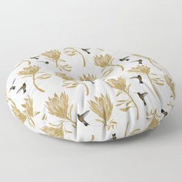 Hummingbird & Flower I Floor Pillow