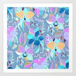 Pastel Tropical Floral Art Print