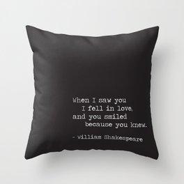 Shakespeare Quote: LOVE (white on black) Throw Pillow