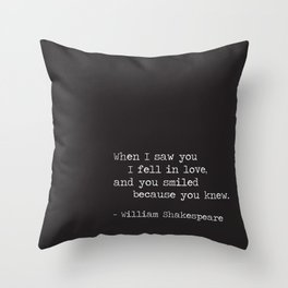 Shakespeare Quote: LOVE (white on black) Throw Pillow