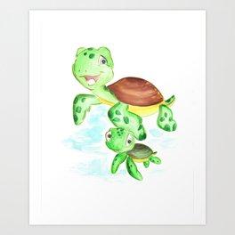 turtle baby and mom, nautical wall decor, ocean themed nursery, sea turtle, sea animals watercolor Art Print