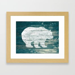Rustic White Bear on Blue Wood Lodge Art A231b Framed Art Print