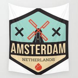 Amsterdam Windmill Badge XXX Wall Tapestry