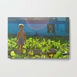 Young Boy-Tonle Sap Lake, Cambodia Metal Print