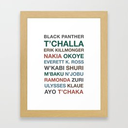 Black Panther Character Names Framed Art Print