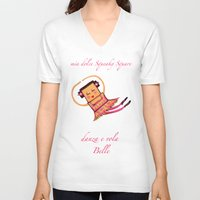 belle V-neck T-shirts featuring BELLE by Ele Petti