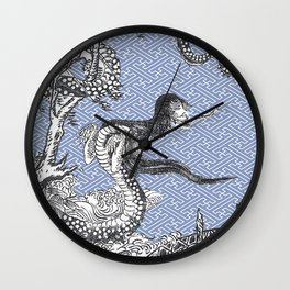 Yokai - NureOnna - SnakeLady by Sekien with Sayagata Background Wall Clock