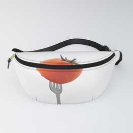 Fork with tomato - white Fanny Pack