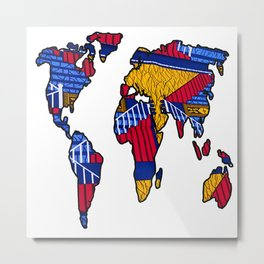 Red Gold Blue World Map Metal Print