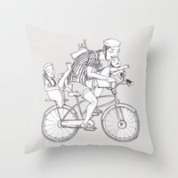 bicycle Throw Pillows featuring bicycle by Madmi