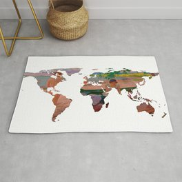 World Map Silhouette - Undressing at The Beach Rug