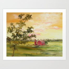 Red Barn, Farm Painting, by Faye Art Print