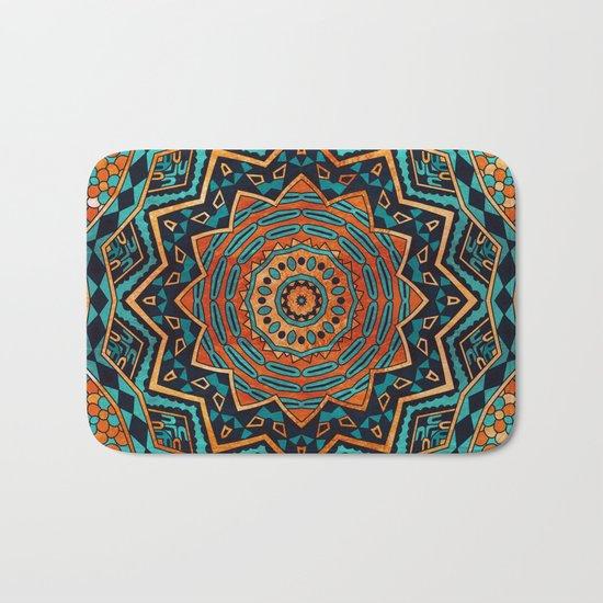 Blue and Gold Mandala Bath Mat