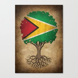 Vintage Tree of Life with Flag of Guyana Canvas Print