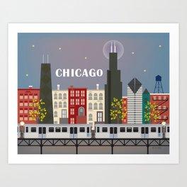 Chicago, Illinois - Skyline Illustration by Loose Petals Art Print