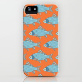 Blue and Orange Tropical Fish Shoal Pattern iPhone Case