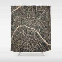 paris map Shower Curtains featuring Paris map by NJ-Illustrations