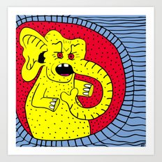 THERE'S AN ELEPHANT OUTSIDE.  (Yellow). Art Print
