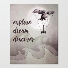 Explore Dream Discover Inspirational Art (Silver/Grey) Canvas Print