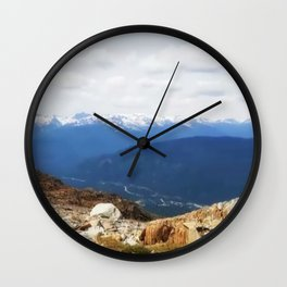 Many layers of a mountain view Wall Clock