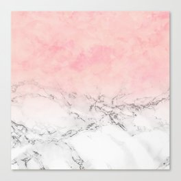Modern blush pink watercolor ombre white marble Canvas Print