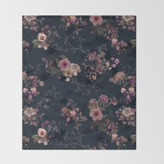 Japanese Boho Floral Throw Blanket