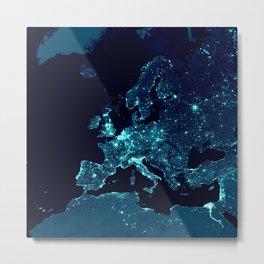 Earth's Night Lights : Teal Metal Print