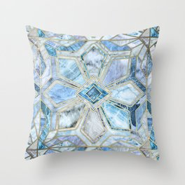 Geometric Gilded Stone Tiles in Soft Blues Throw Pillow