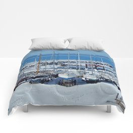 Sailboats in Winter Comforters