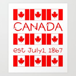 Canada Day Maple Leaf Pattern Canadian Flag Art Print