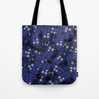 doctor who Tote Bags featuring Tardis by 10813 Apparel