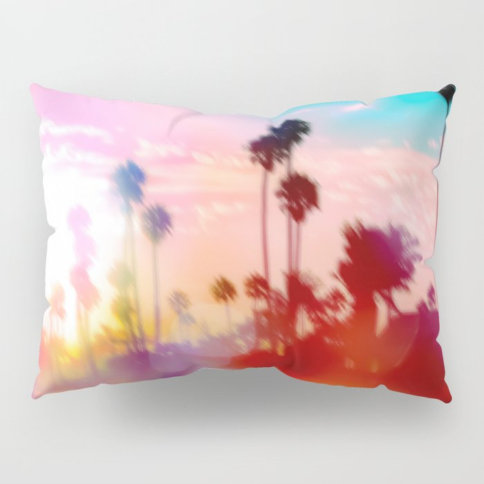 palm tree with sunset sky and light bokeh abstract background Pillow Sham