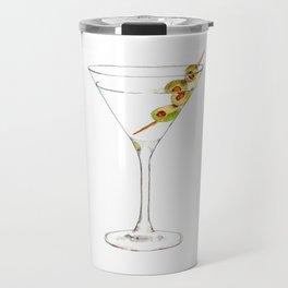 Cocktails. Martini. Watercolor Painting. Travel Mug