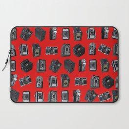 Vintage Cameras on Red Laptop Sleeve